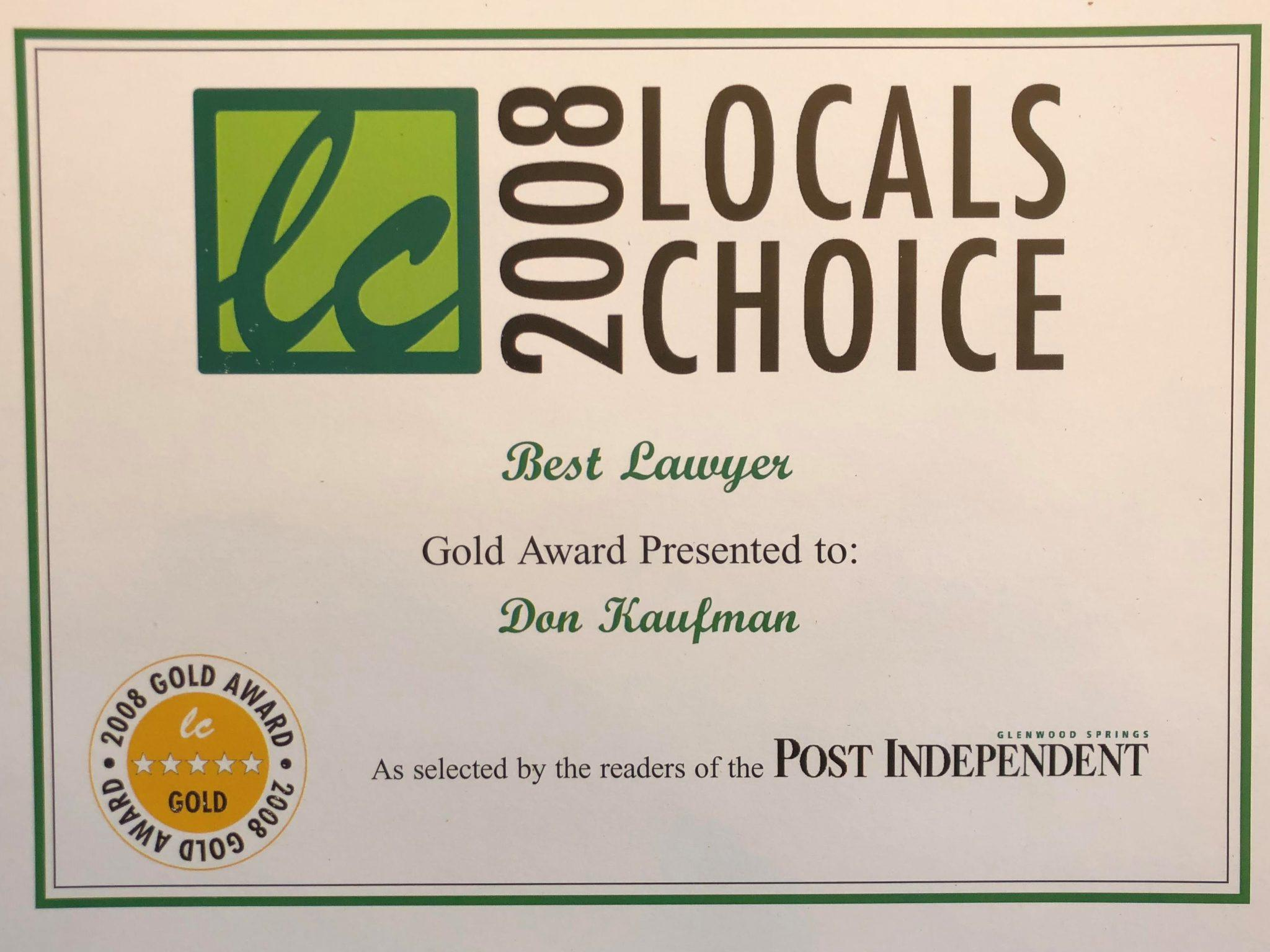 Don Kaufman wins 2008 Locals Choice Award