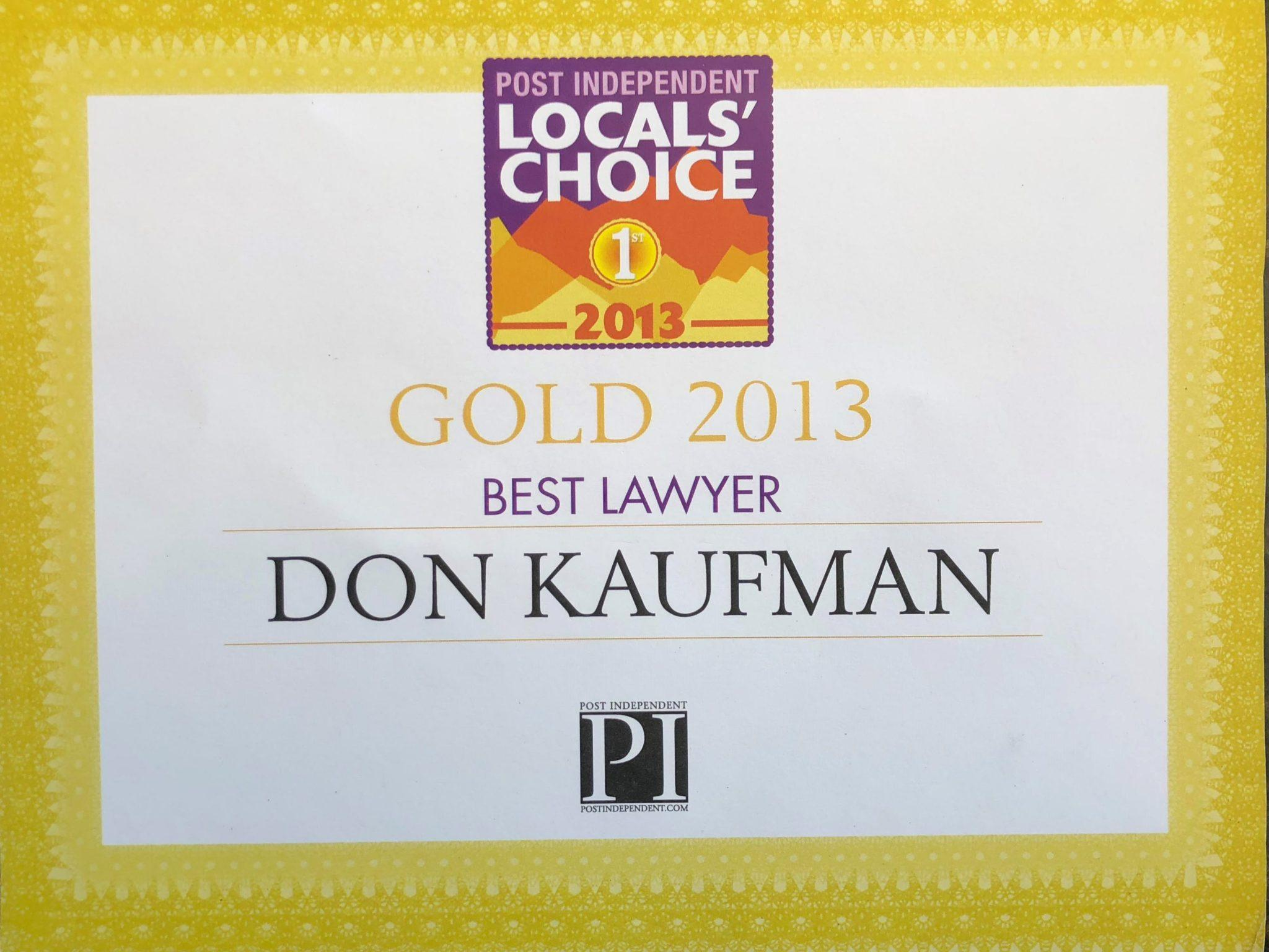 Don Kaufman Wins 2013 Locals Choice Award